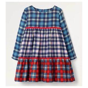 NWT Mini Boden Tiered Woven Dress Multi Check 3-4